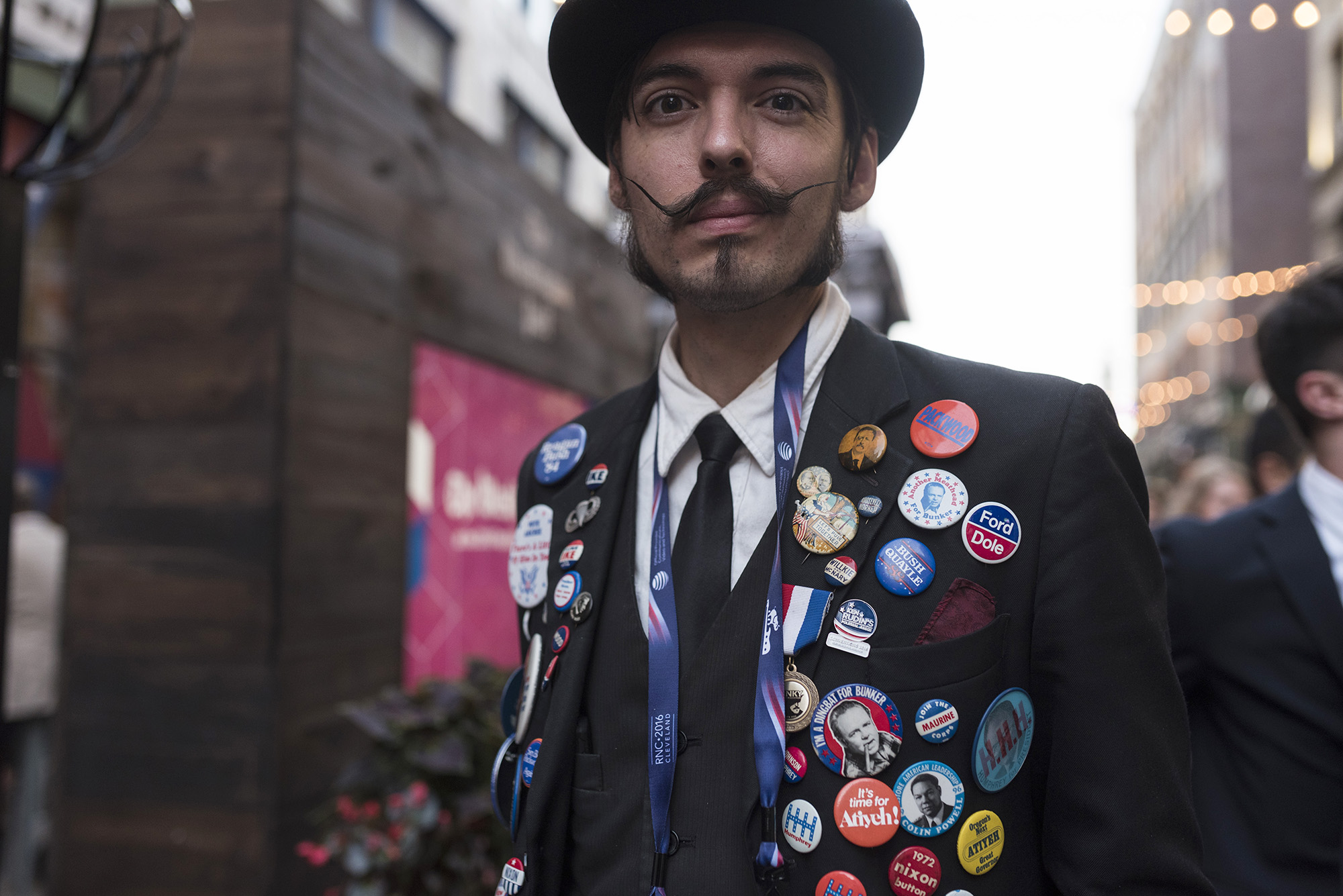Xander Almcida, a prepublican from Portland, Oregan, who have been collecting Republican presidential nominee pins for years, poses for a portrait on Tuesday July 19th, in Cleveland, Ohio. (G-Jun Yam/The Columbia Chronicle)