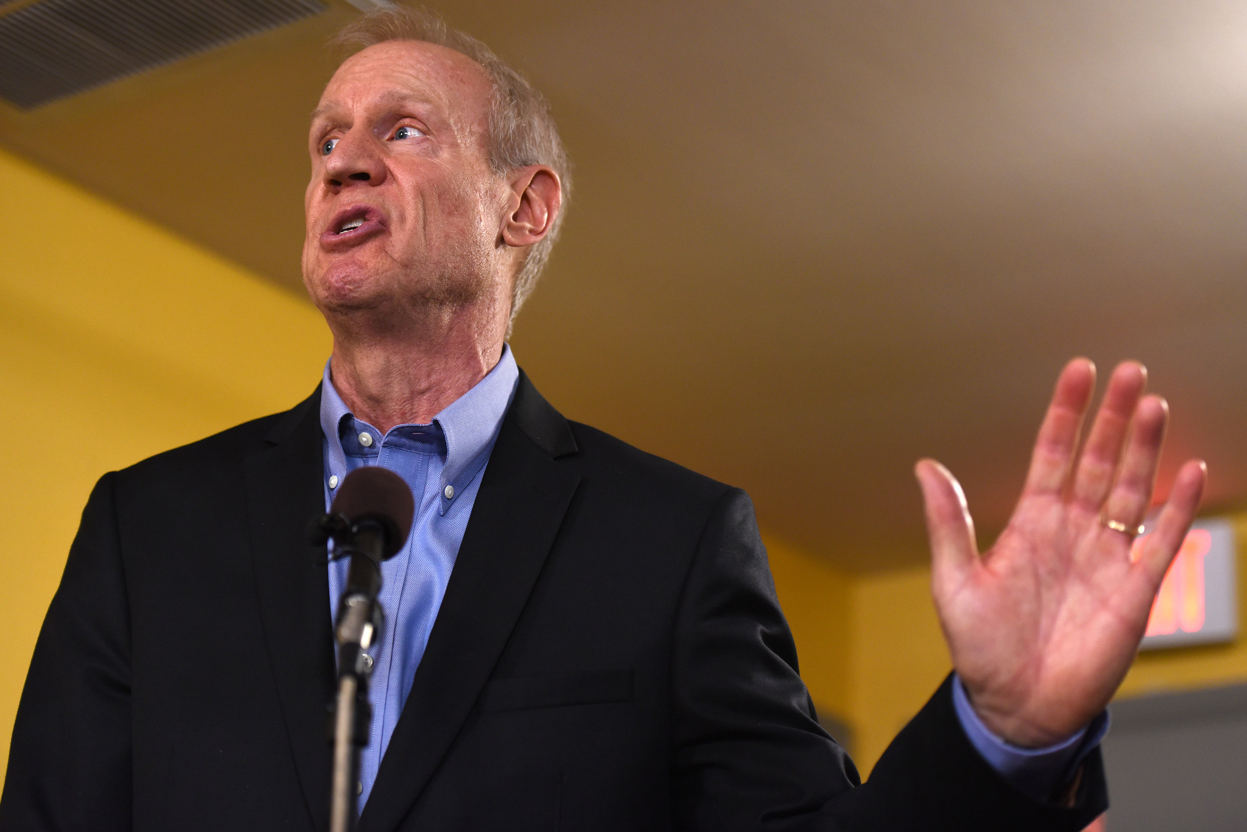 Illinois Governor Bruce Rauner speaks during a news conference, Wednesday, July 5, 2017, in Chicago. Governor Rauner vetoed on Tuesday a package of legislation that raised the income tax by a permanent 32 percent to finance a $36 billion spending plan, which would be Illinois' first budget since 2015. The Illinois House has scheduled a Thursday session which the chamber would  vote to override the veto, ending a budget stalemate that has lasted more than two years. (AP Photo/G-Jun Yam)
