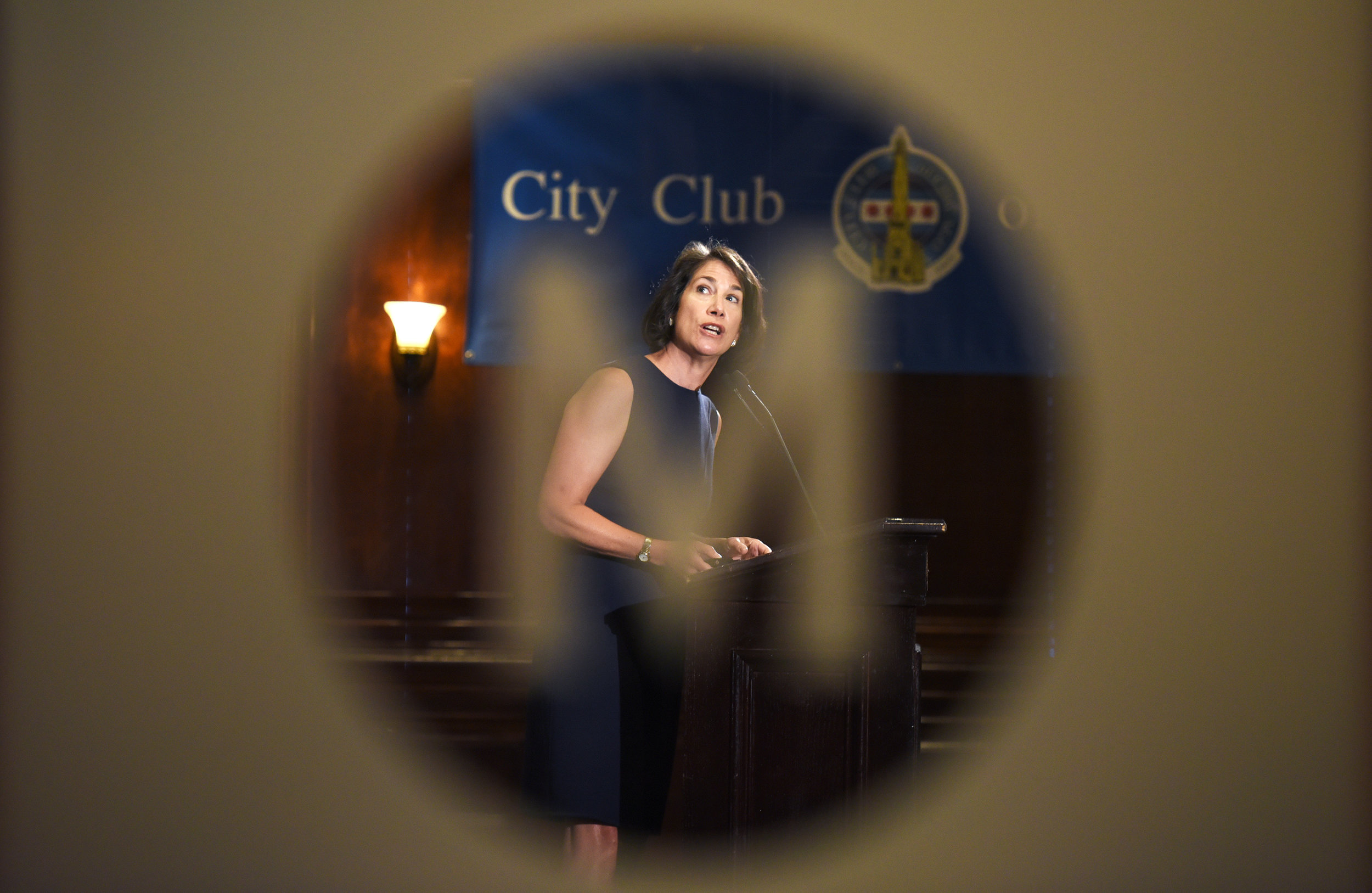 Illinois first lady Diana Rauner speaks to the City Club of Chicago on Monday, June 26, 2017, in Chicago in her role as president of the Ounce of Prevention Fund, a public-private group that prepares children for school. (AP Photo/G-Jun Yam)