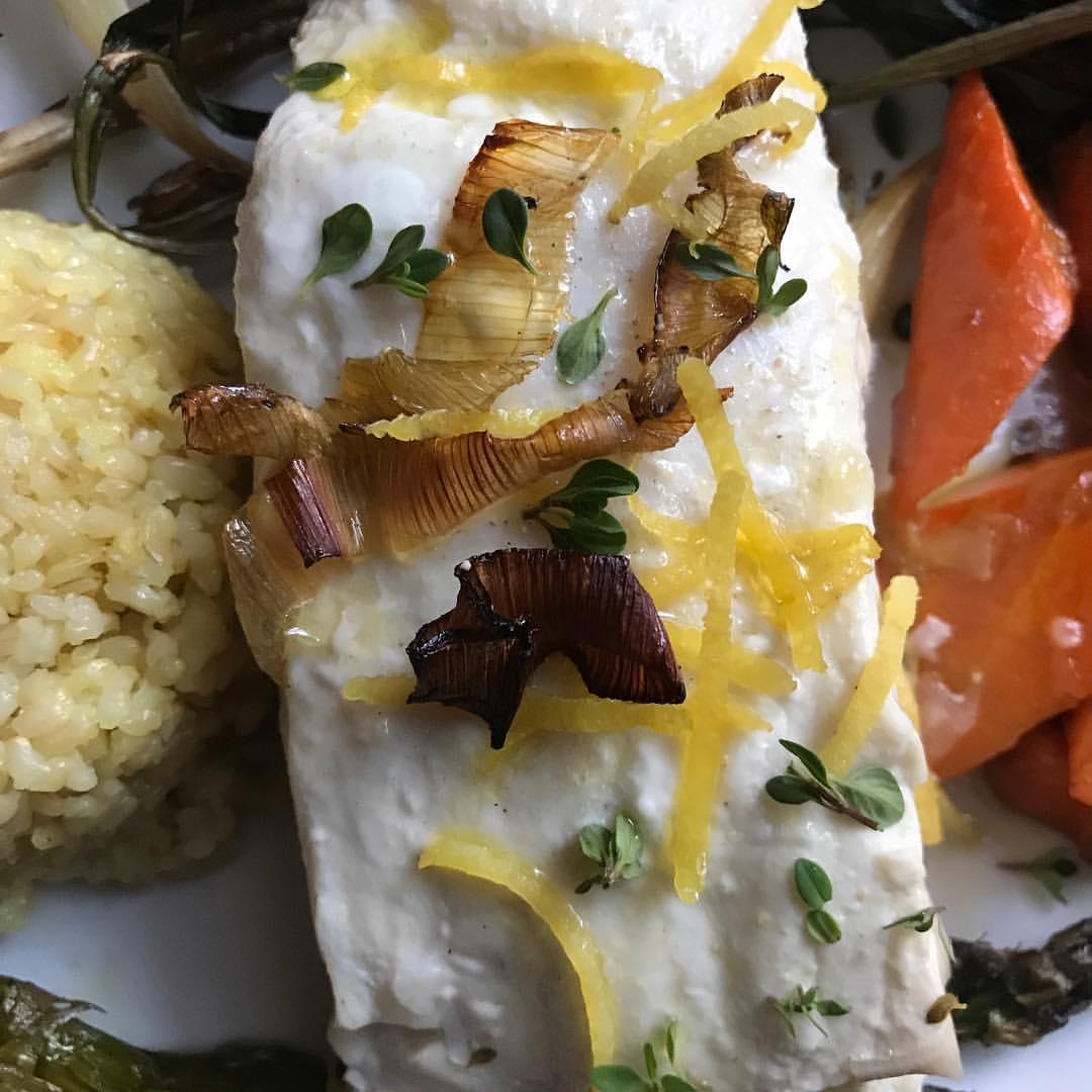 Poached halibut, crispy leeks
