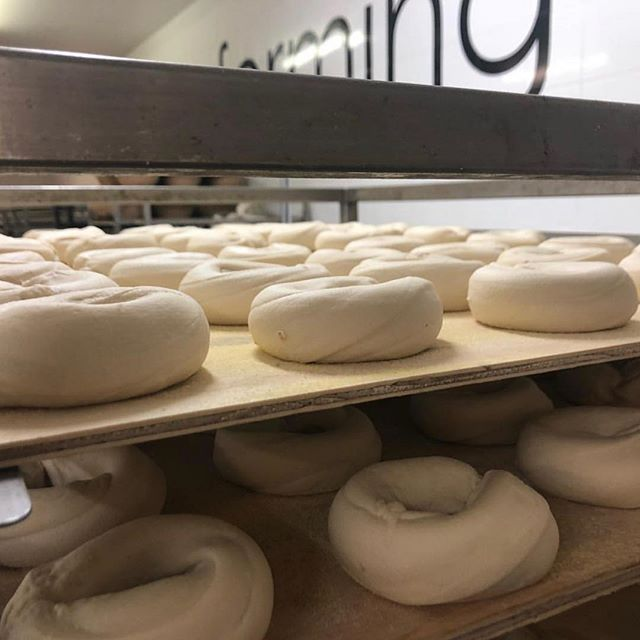 Bread nerds bakers are working hard baking your bagels, artisan bread and delicious danishes ready for the @crfarmersmarket and local IGAs in the morning! 🥐🥯🥖 #bagels #sourdough #danishes #pastry #croissant #bakedfresh #baked #bread #farmersmarket #local #allnatural #bakers #legends