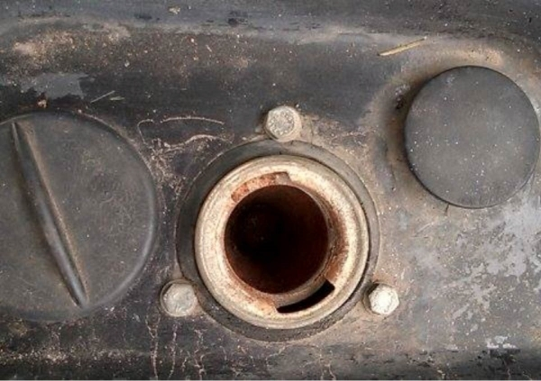 This is what the fuel cap on the DeLorean looks like...