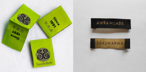 Fronts and backs of two different clothing tags