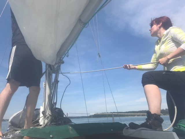 raising the main sail