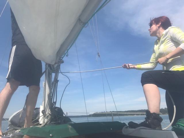 raising the main sail