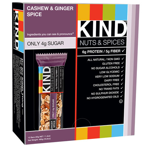 2.  KIND Cashew and Ginger Spice   Calories: 200 Fiber: 5g Protein: 6g Sugar: 4g