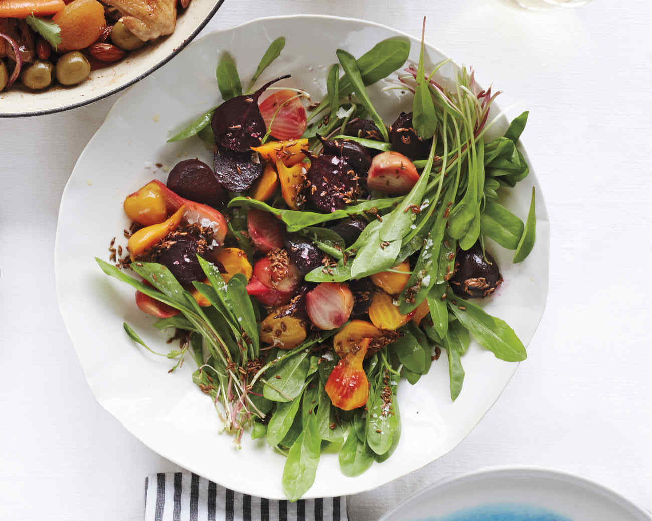 4. Roasted Beet and Dandelion Greens Salad.  See recipe  here .