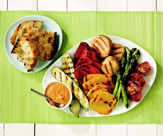 3.  Grilled Vegetables with Romesco Sauce.   See recipe here.