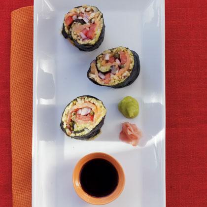 1. Smoked Salmon & Avocado Hand Rolls . See recipe  here .