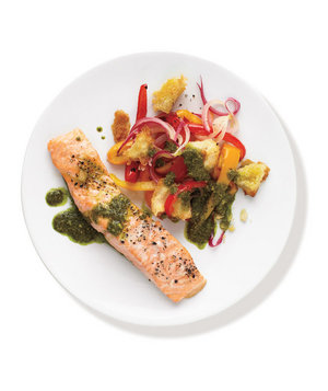 3.  Roasted Salmon With Pesto Vegetables . See recipe  here .