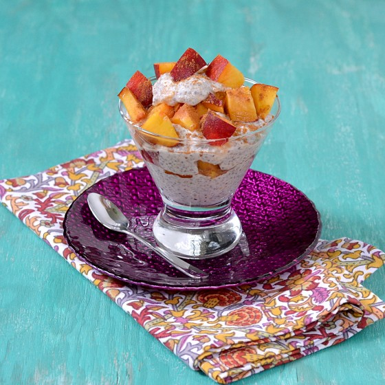 5. Peaches 'n Cream Oat & Chia Pudding Parfait . See recipe  here .