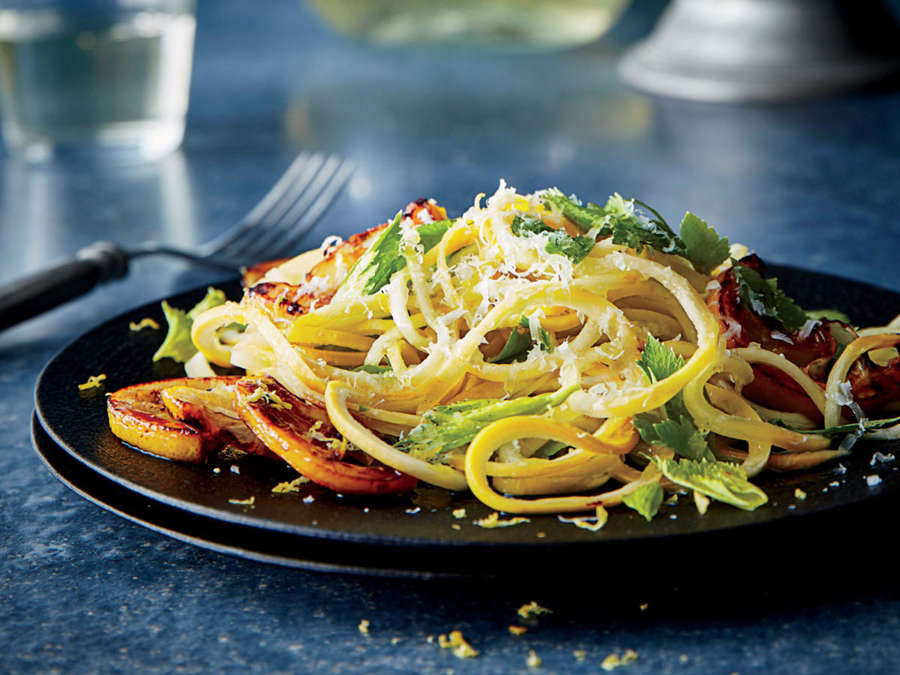 5. Yellow Squash Pasta with Caramelized Lemon.  See recipe  here .