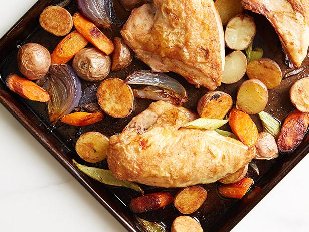 1.  Lemon and Herb Roast Chicken and Vegetables . See recipe  here.