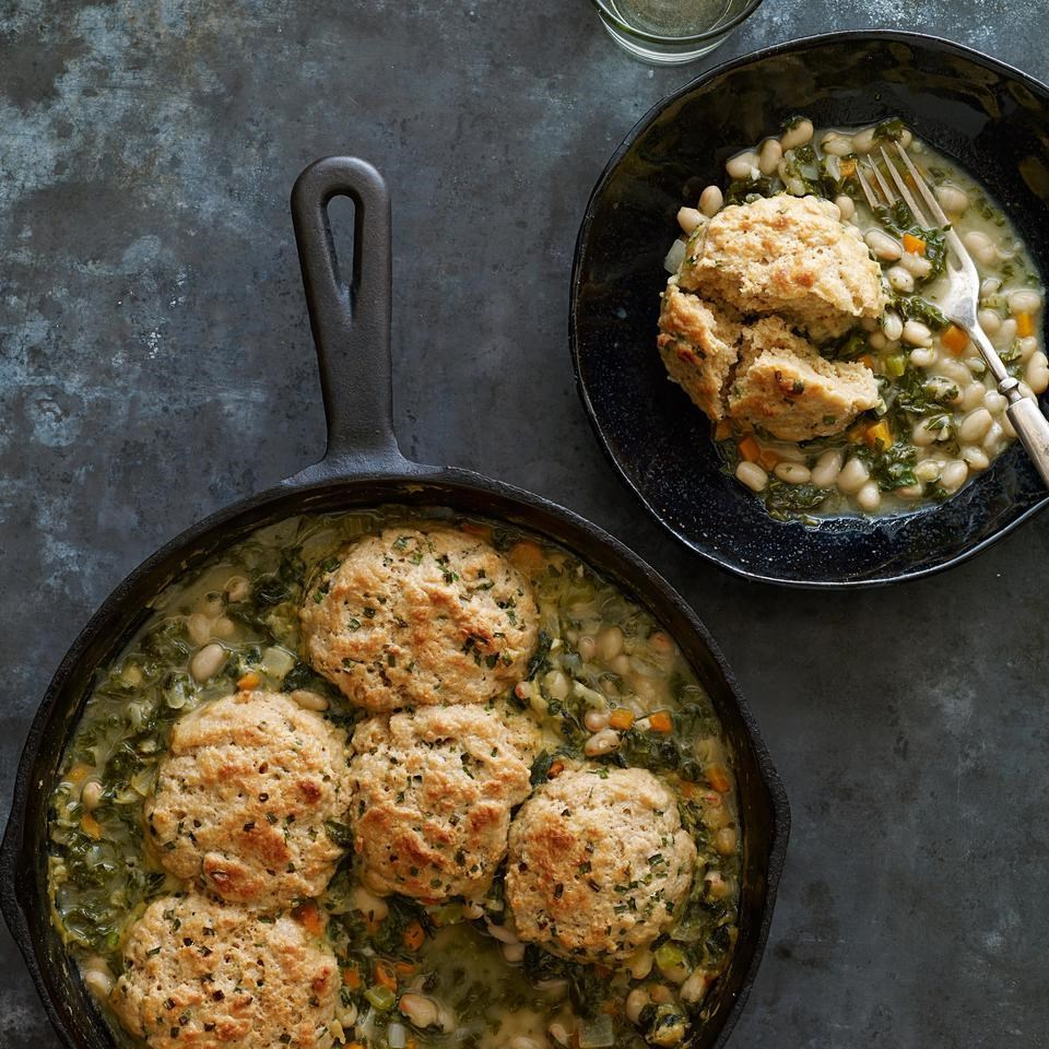 3.  Kale & White Bean Potpie with Chive Biscuits.  See recipe  here .