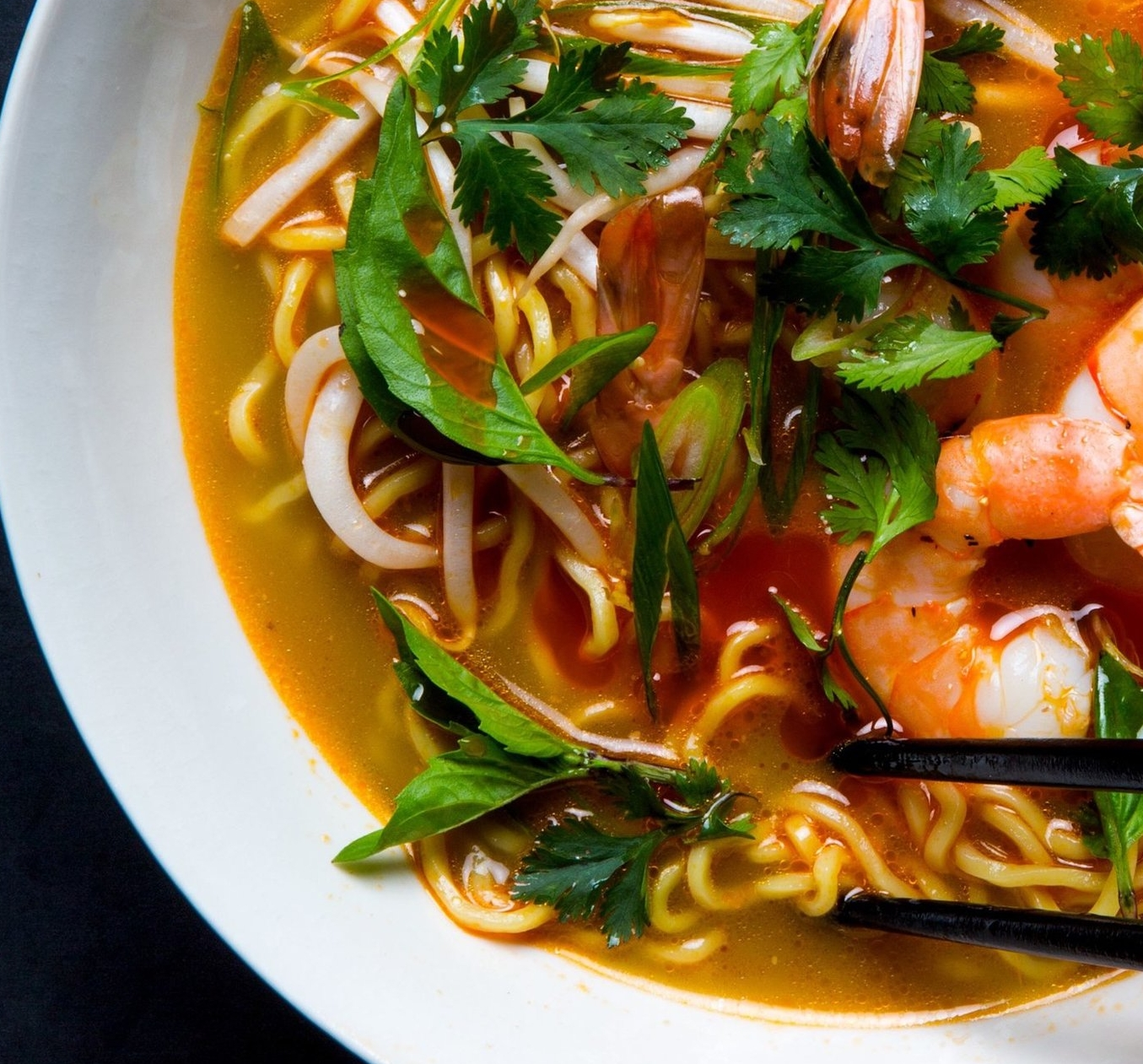 1.  Aromatic Shrimp and Noodle Soup.  See recipe  here .