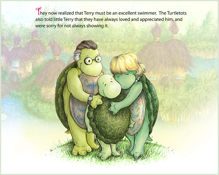 Terry, the Awkward Turtle interior, colored pencil/watercolor<br>Children's picture book written by Russell Dauterman, 2007