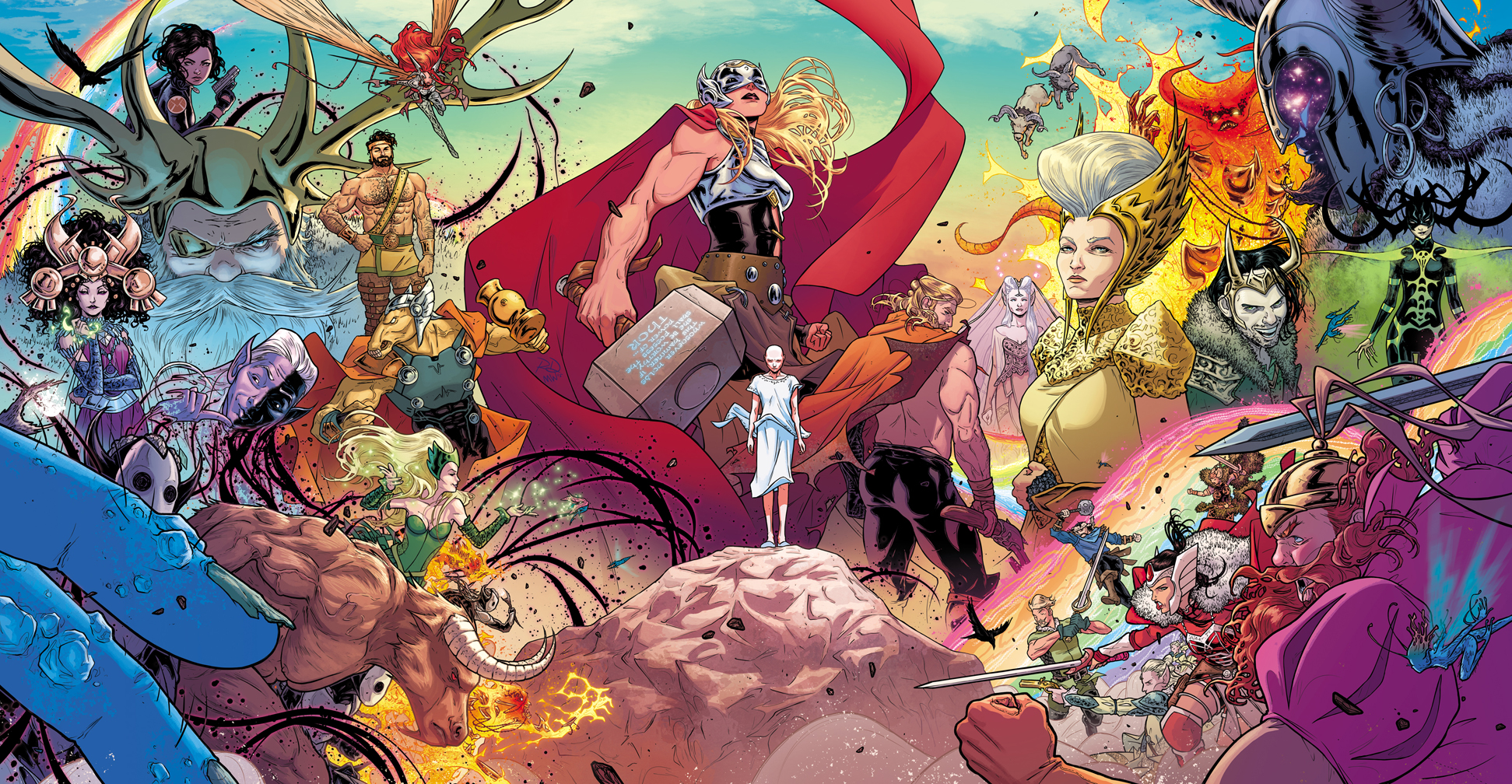 THE MIGHTY THOR #1 wraparound gatefold cover, with color by Matt Wilson. Marvel, 2015