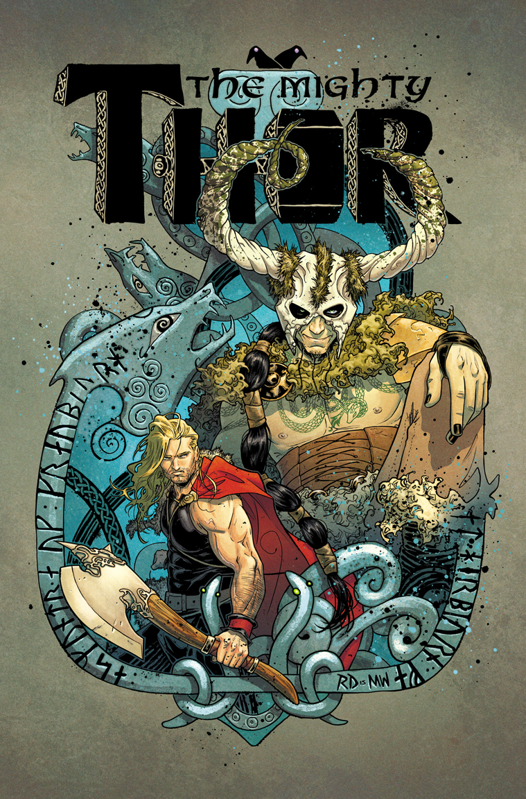 THE MIGHTY THOR #6 cover, with color by Matt Wilson. Marvel, 2015