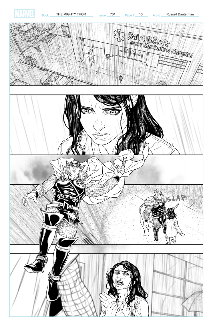 THE MIGHTY THOR #704 p13, uncolored. Marvel, 2018