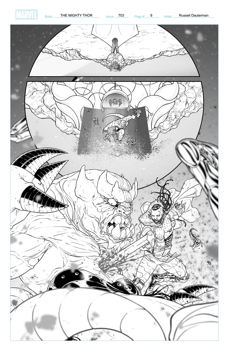 THE MIGHTY THOR #703 p6, uncolored. Marvel, 2017