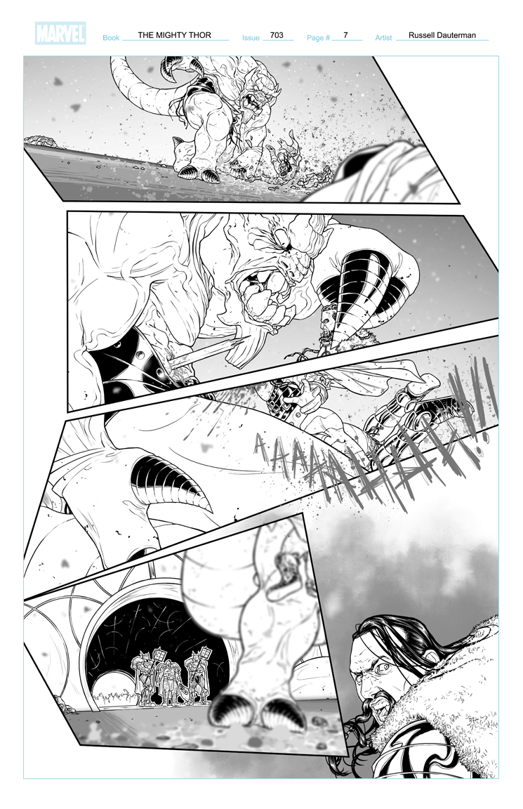 THE MIGHTY THOR #703 p7, uncolored. Marvel, 2017