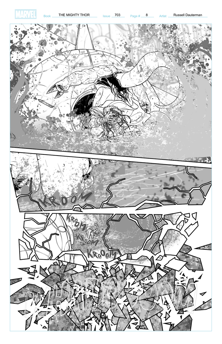 THE MIGHTY THOR #703 p8, uncolored. Marvel, 2017