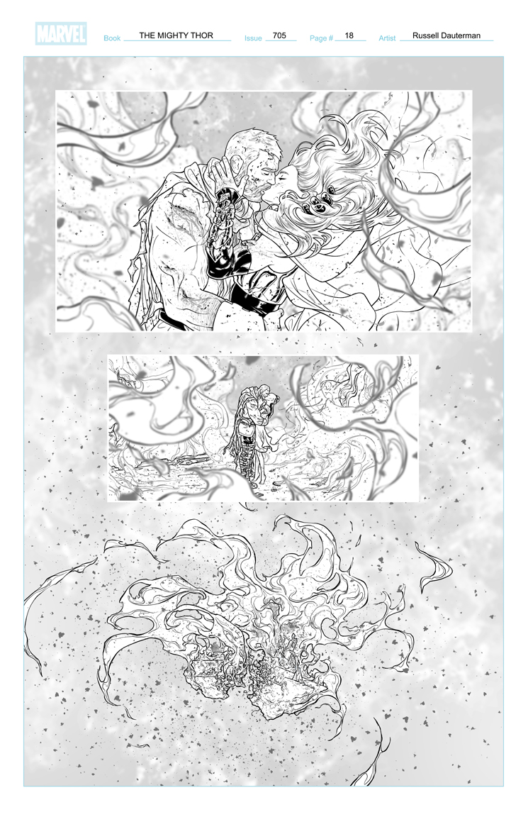 THE MIGHTY THOR #705 p18, uncolored. Marvel, 2018
