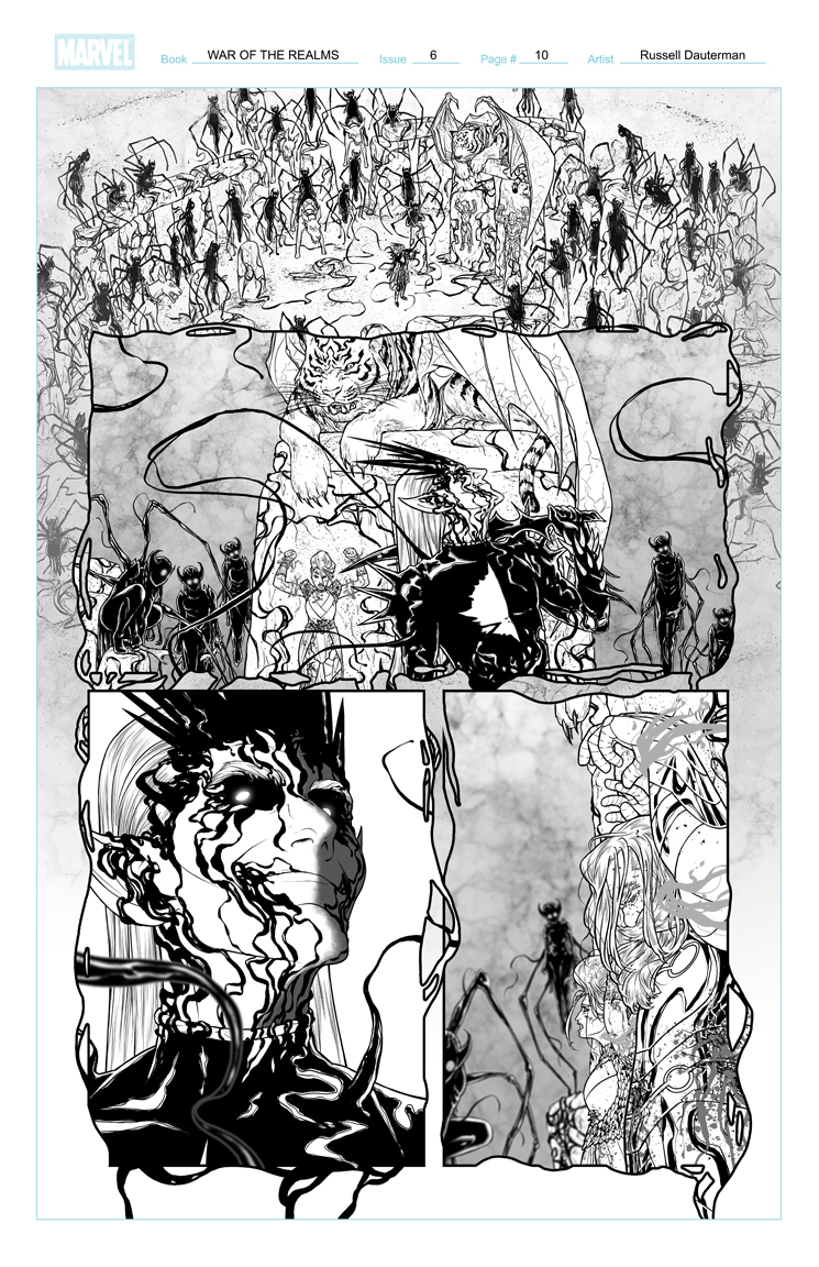 WAR OF THE REALMS #6 p10, uncolored. Marvel, 2019