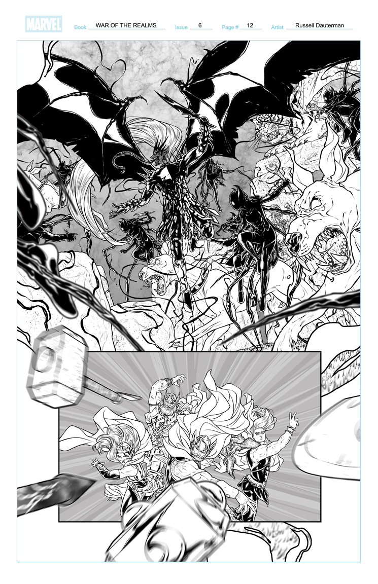 WAR OF THE REALMS #6 p12, uncolored. Marvel, 2019