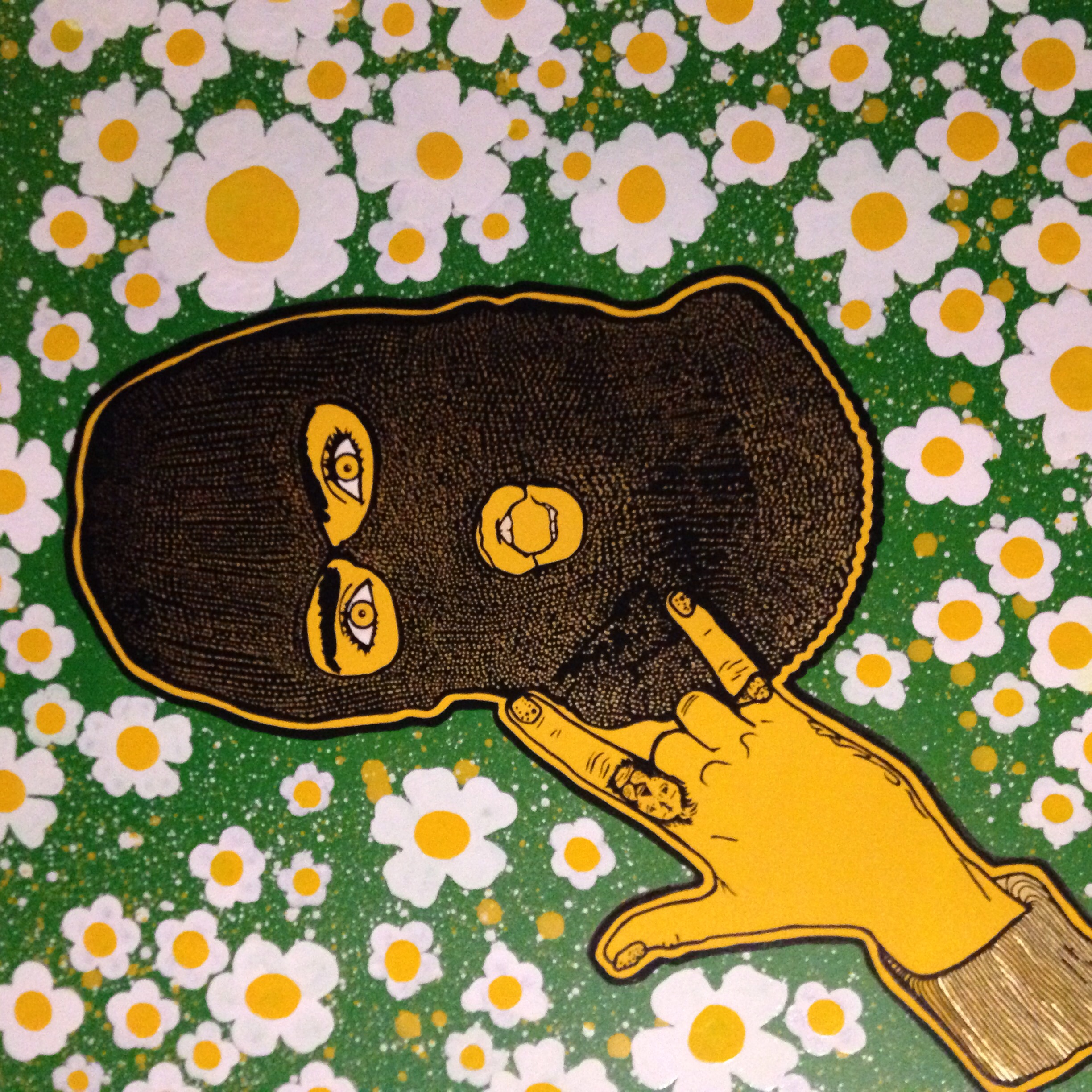 Flower Balaclava - being playful painting aggressive hats and peaceful flowers