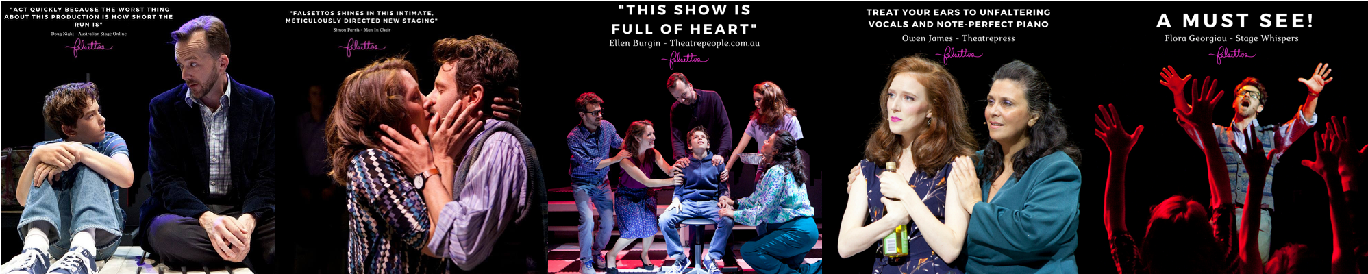 """Wonderful reviews for StageArt's February 2018 production of """"FALSETTOS"""" directed by Tyran Parke and musically directed by David Butler"""