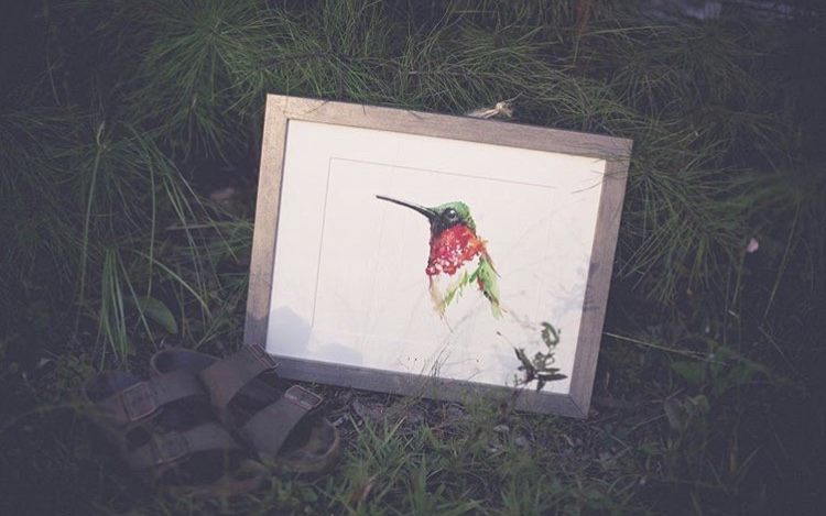 Florida watercolor artist Kristen Summers' painting of a hummingbird