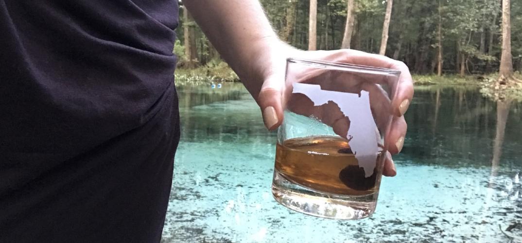 Bourbon in a Florida rocks glass