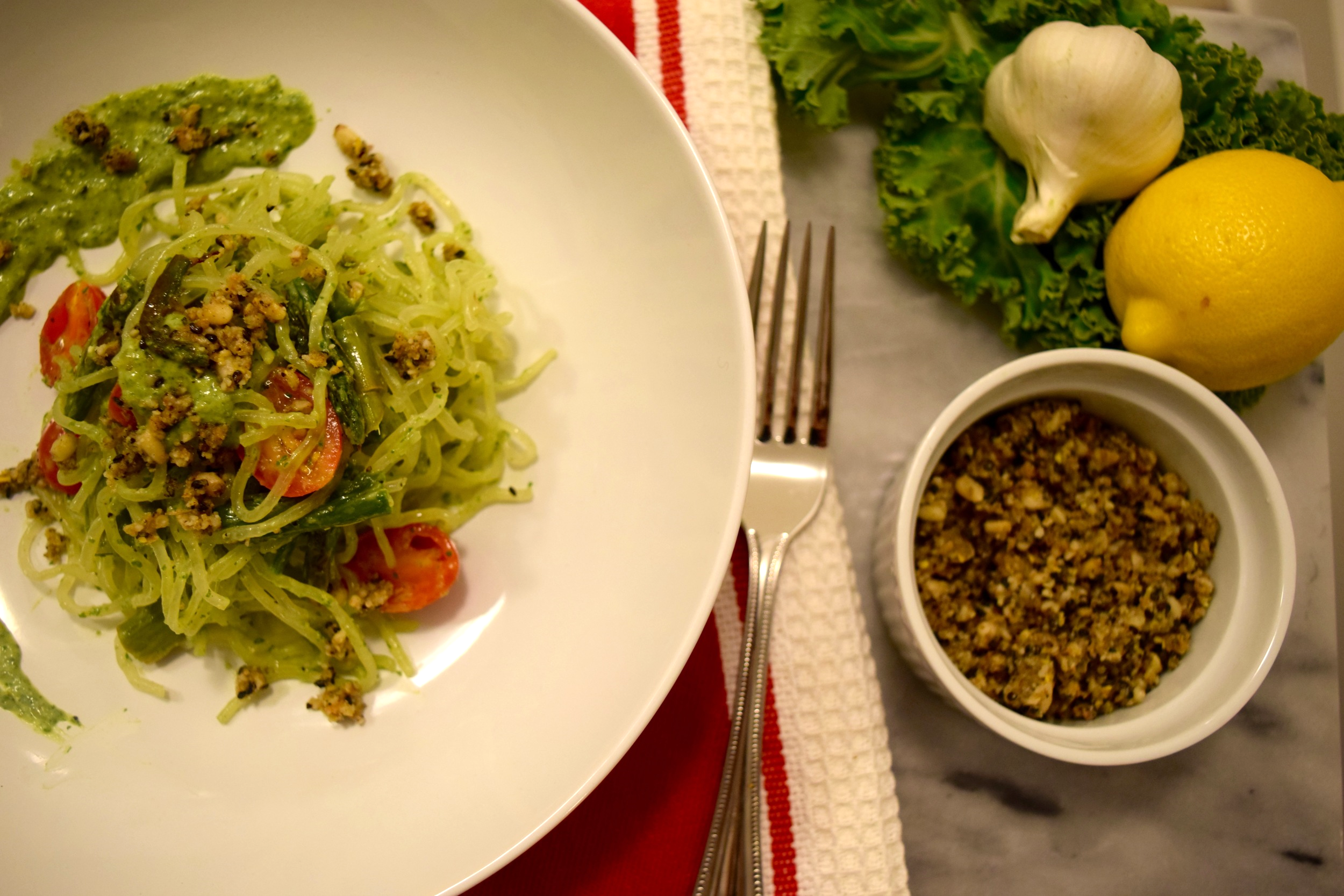 Kelp Noodles Kale Avocado Pesto Vegan Parm Recipe
