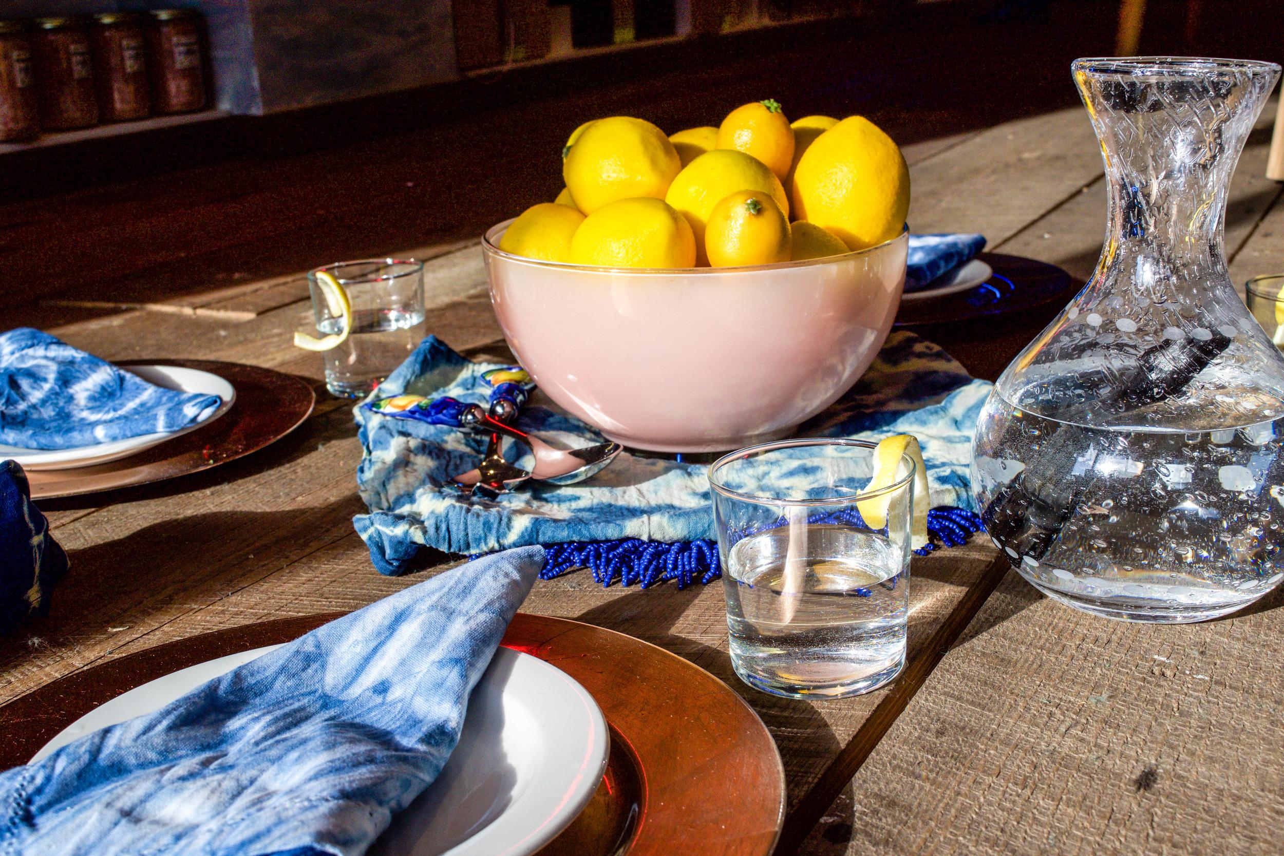 table setting napkin shibori tie dye natural indigo