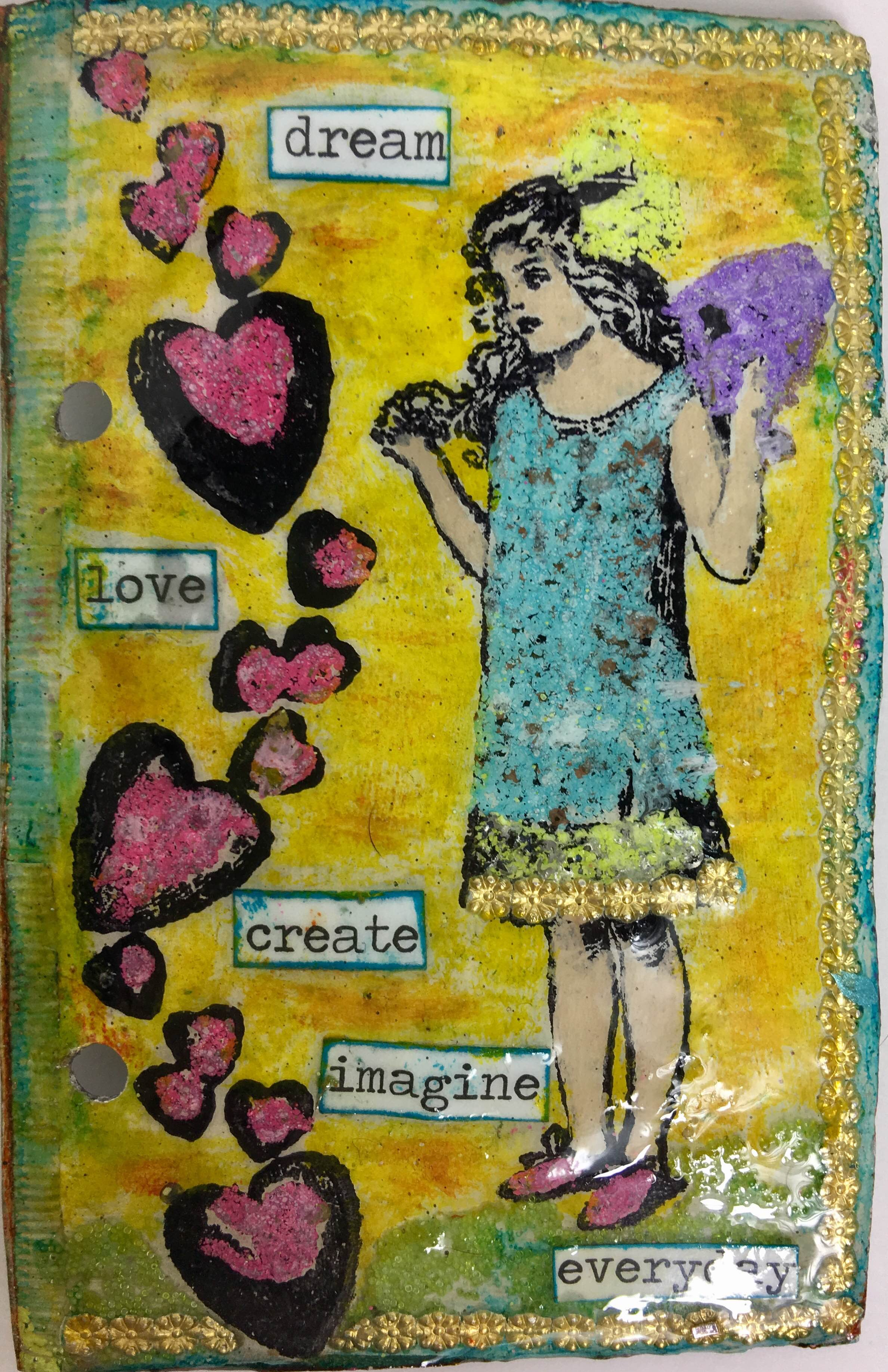 Stamping with stamps by Cat Kerr and Dresden painted with Iced Enamels® and Ice Resin®