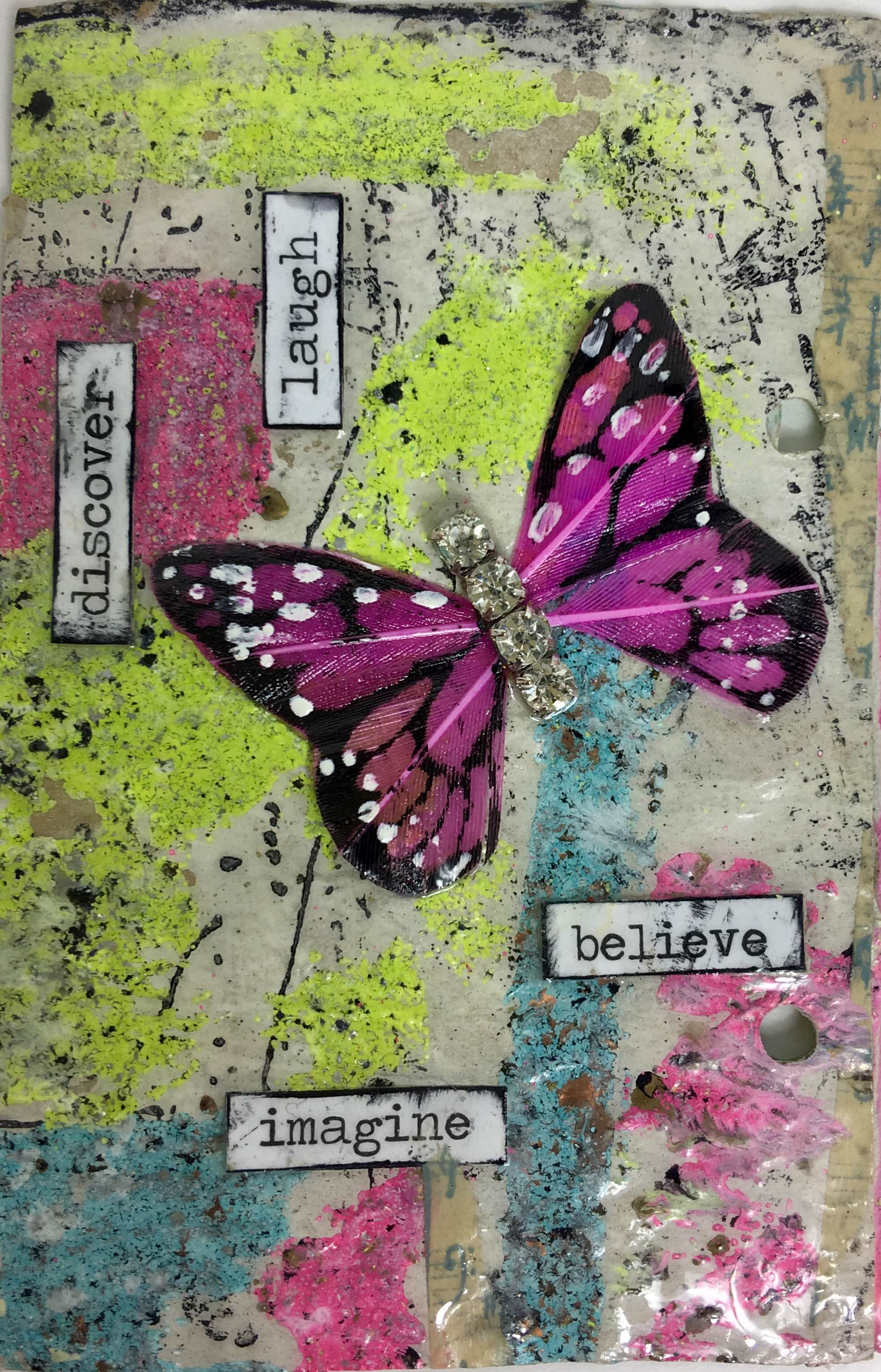 Washi tape, stickers, Bohemian Jewels, a feather butterfly, Iced Enamels® and Ice Resin®