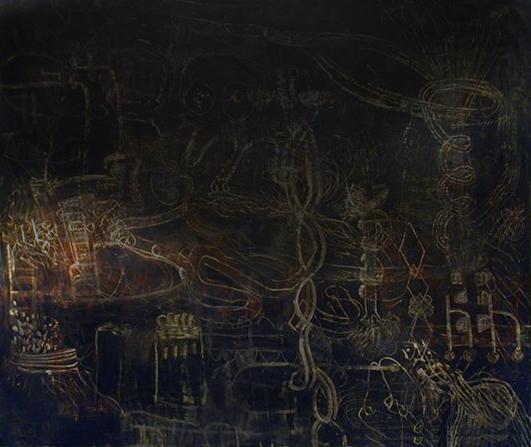 DNA Vortex Twine | Tina Douglas | Egg Tempera on canvas | 151 x 180cm | 1999 | Pinacotheca Gallery, Melbourne | 2001