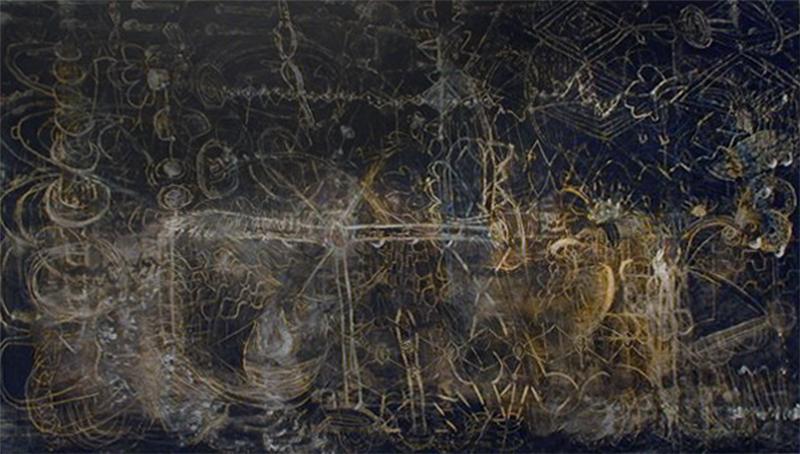 Hubble | Tina Douglas | 213 x 122 cm | Egg Tempera on canvas | 2000 | Pinacotheca Gallery, Melbourne | 2000 | Private Collection