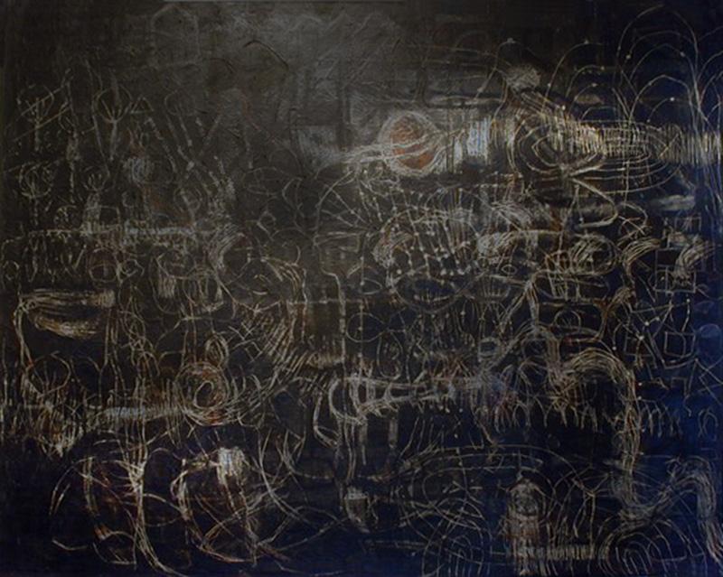 Neutrino-Astro Hub | Egg Tempera on canvas | 198 cm x 249 cm | 1998  | Pinacotheca Gallery, Melbourne | 2001 | Private Collection