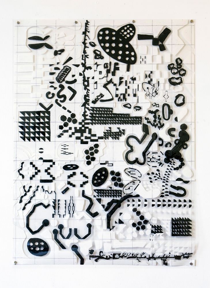 Tina Douglas | 96.8 x 71cm | Acrylic paint on printed acetate grid | Remote Access | Place Gallery, Melbourne |  2013