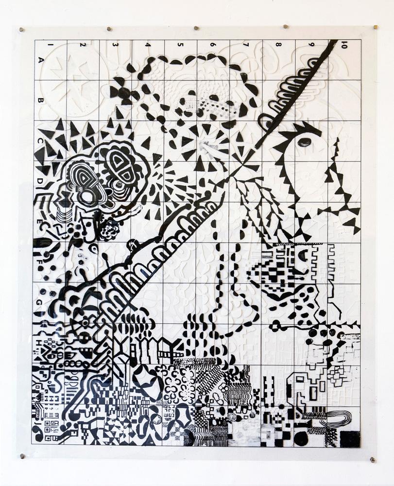 Volvox Atlas | Tina Douglas | 91.5 x 110cm | Acrylic paint on printed acetate grid | Remote Access | Place Gallery, Melbourne | 2013
