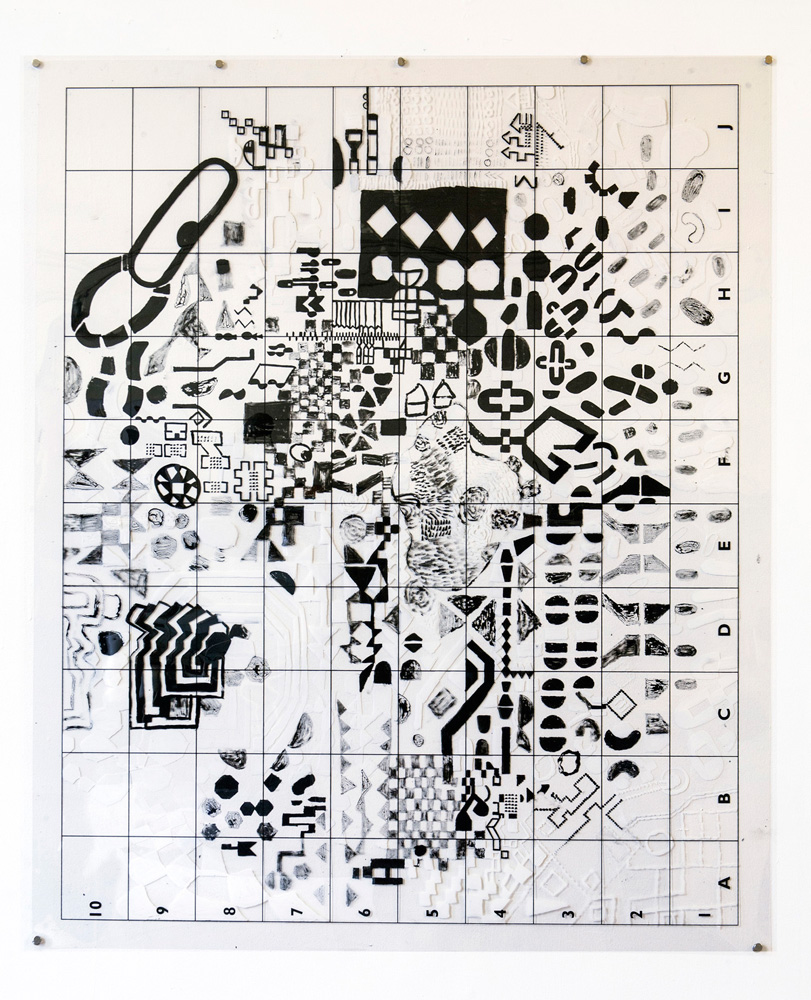 Safe Keeping Ubends | Tina Douglas | 91.5 x 110cm | Acrylic paint on printed acetate grid | 2012 | Remote Access | Place Gallery, Melbourne |  2013