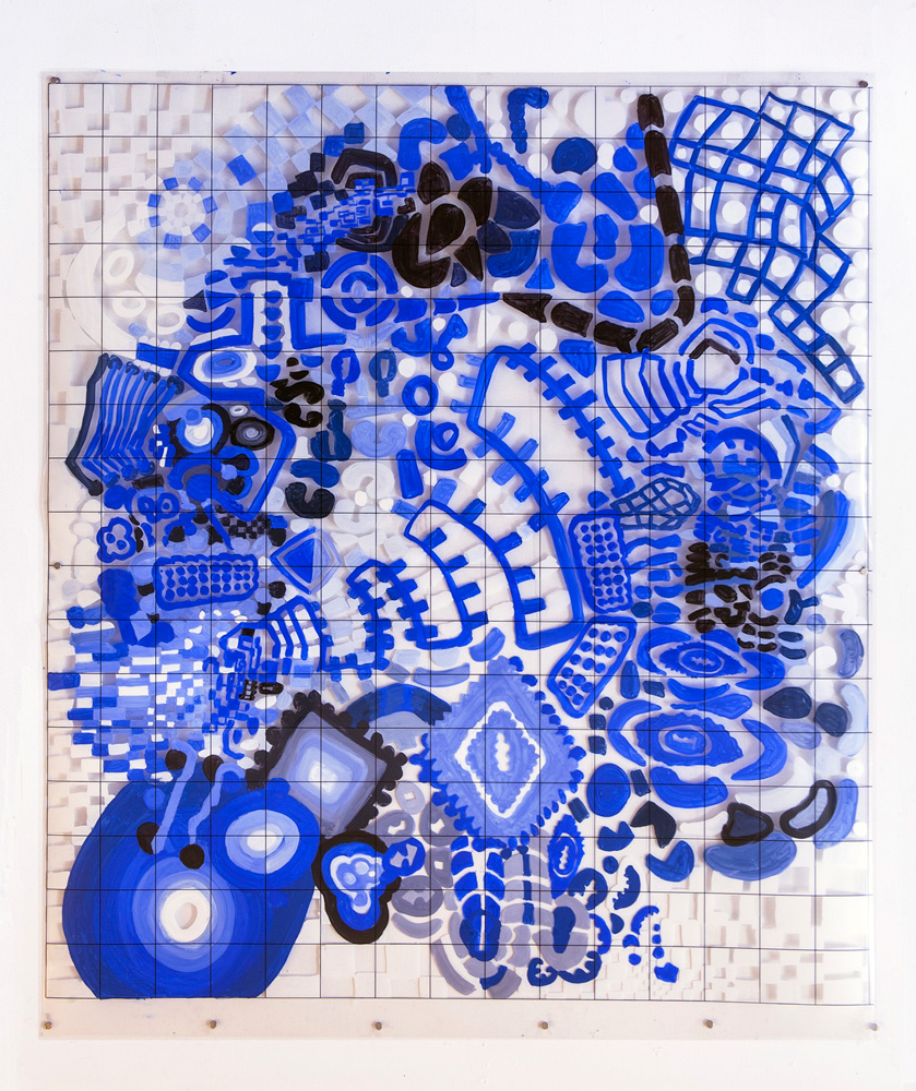A Bolt Out of the Blue | Tina Douglas | 118.6 x 137cm | Acrylic paint on printed acetate grid | 2013 | Remote Access | Place Gallery, Melbourne | 2013