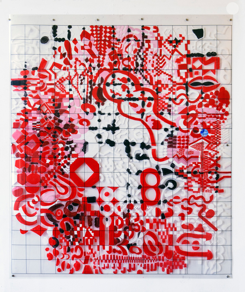 Accountable Alcho-Pop | Tina Douglas | 146 x 137cm | Acrylic paint on printed acetate grid | 2013 | Remote Access | Place Gallery, Melbourne | 2013