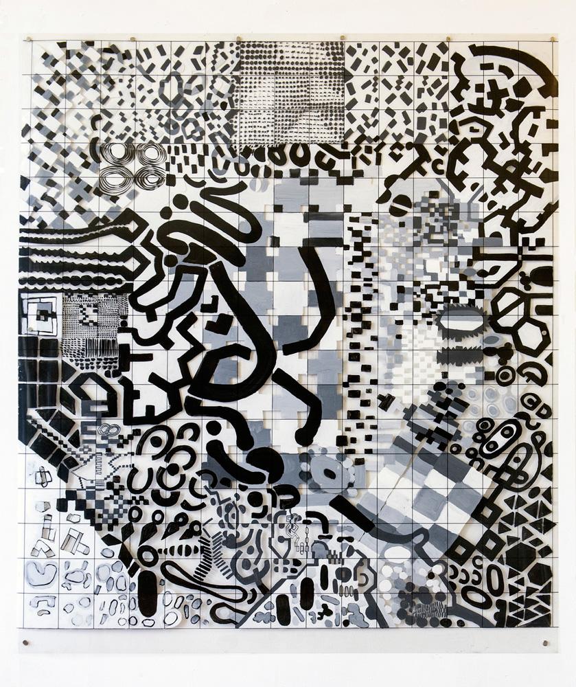 Lace-Up or Obey | Tina Douglas | 116.6 × 137cm | Acrylic paint on printed acetate grid | 2013 | Remote Access | Place Gallery, Melbourne | 2013