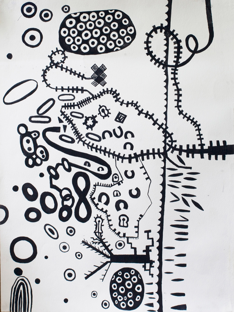 Track-Map | Tina Douglas | Gouache on Arches paper | 76.5 x 57cm | Works on paper | Place Gallery Melbourne | 2010