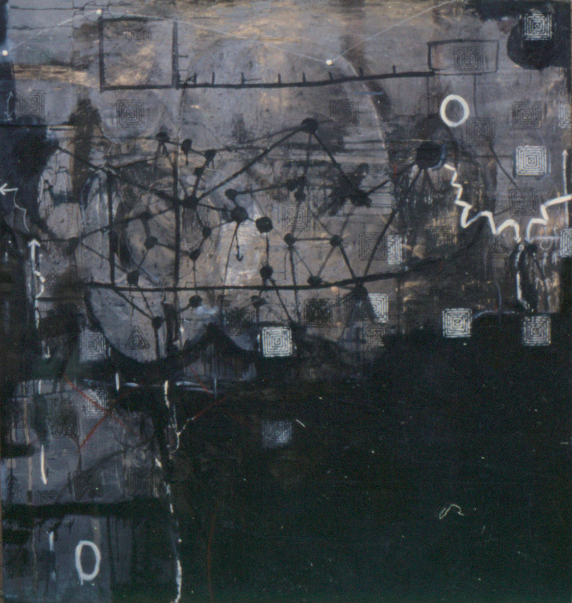 Tina Douglas | Of | Oil paint, enamel, graphite on canvas | 220 x 210cm | 1993