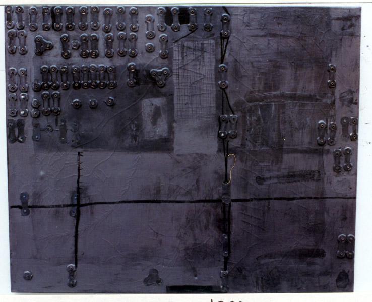 Tina Douglas | found | 60 x 110 cm | Oil, graphite and collage on canvas | 1993
