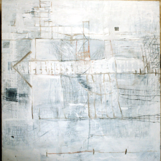 Tina Douglas | Are | 210 x 220 cm | Acrylic and collage on canvas | 1993